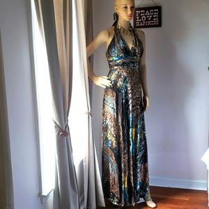 Nina Austin chiffon Gown Halter Top Ruffled XS